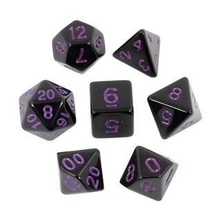 7 Black with Purple Standard Dice