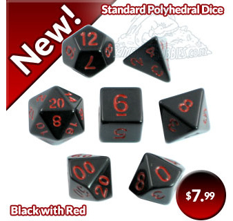 Black with Red Standard Polyhedral Dice