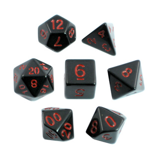 7 Black with Red Standard Dice