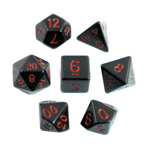 Black with Red Standard Polyhedral Dice Games and Hobbies New Zealand NZ