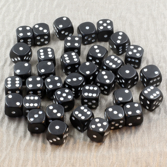 Black with White spots Chessex six sided dice Games and Hobbies NZ New Zealand