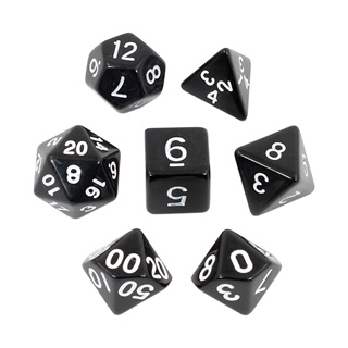7 Black with White Standard Dice