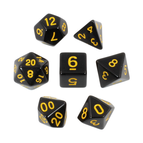Black with Yellow Standard Polyhedral Dice Games and Hobbies New Zealand NZ