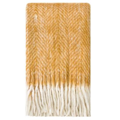 Bliss Mohair Blend Herringbone Throw - Wood Thrush