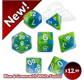 Blue and Green Fusion Polyhedral Dice