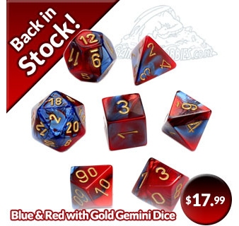 Blue and Red Chessex Gemini Polyhedral Dice