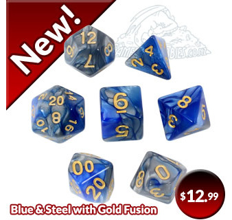 Blue and Steel Fusion Polyhedral Dice