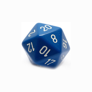 Blue with White Large Twenty Sided Dice