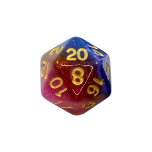 Blue Orange and Pink with Gold Stardust Polyhedral Dice Games and Hobbies NZ