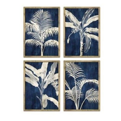 Blue Palm Print Framed W/ Glass Asst 4 70x50cmh