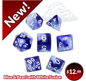 Blue & Pearl with White Fusion Polyhedral Dice
