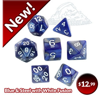 Blue & Steel Fusion Polyhedral Dice