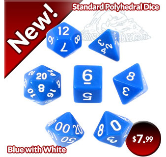 Blue with White Standard Polyhedral Dice
