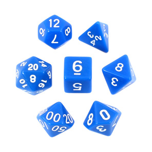 Blue with White Standard Polyhedral Dice Games and Hobbies New Zealand NZ