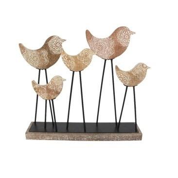 Boho Bird Deco - Wood And Metal 48x42cmh