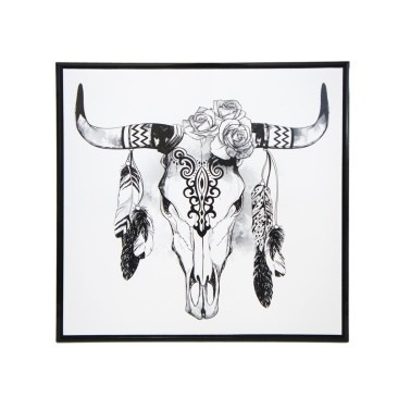 Boho Skull Framed Canvas Print - Black Frame 100x100cm
