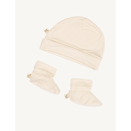 Boody Baby Beanie & Booties - 0-3 Months - Chalk