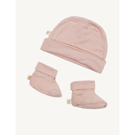 Boody Baby Beanie & Booties - 0-3 Months - Rose