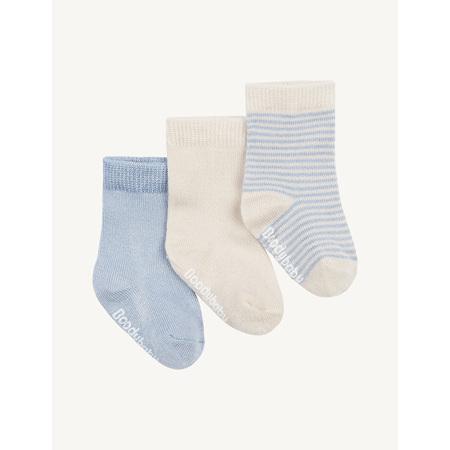 Boody Baby Socks - 3 Pack - 3-6 Months - Chalk/Sky