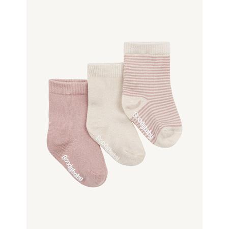 Boody Baby Socks - 3 Pack - 6-12 Months - Chalk/Rose
