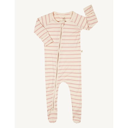 Boody Baby Stripe Long Sleeve Onesie - 0-3 Months - Chalk/Rose