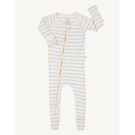 Boody Baby Stripe Long Sleeve Onesie - 0-3 Months - Chalk/Sky