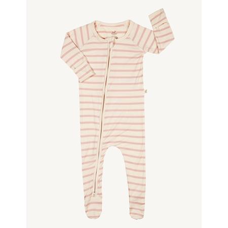 Boody Baby Stripe Long Sleeve Onesie - 6-12 Months - Chalk/Rose
