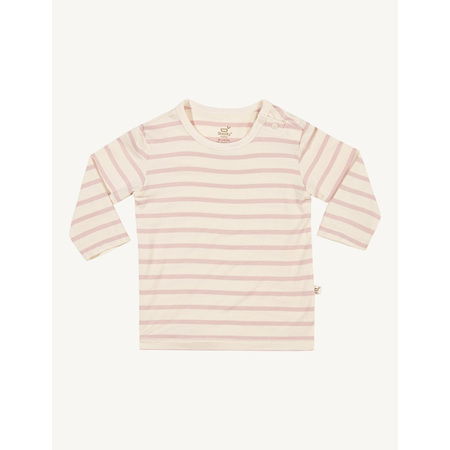 Boody Baby Stripe Long Sleeve Top - 6-12 Months - Chalk/Rose