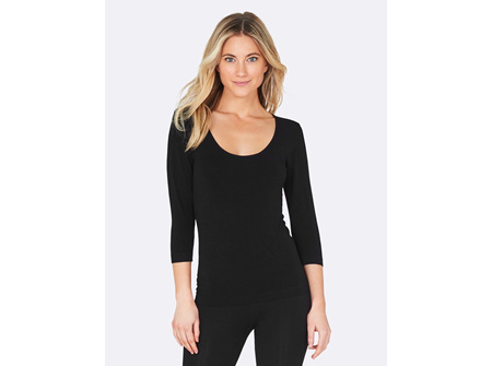 Boody Women's 3/4 Sleeve Top Black Medium