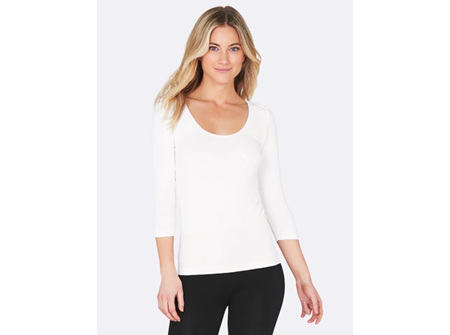Boody Women's 3/4 Sleeve Top White Large