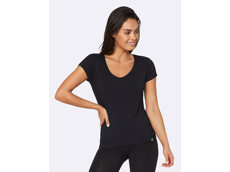 Boody Women's V-neck T-shirt Black Small