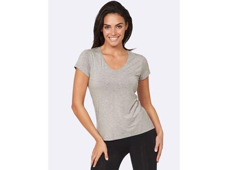 Boody Women's V-neck T-shirt Light Grey Marl Medium
