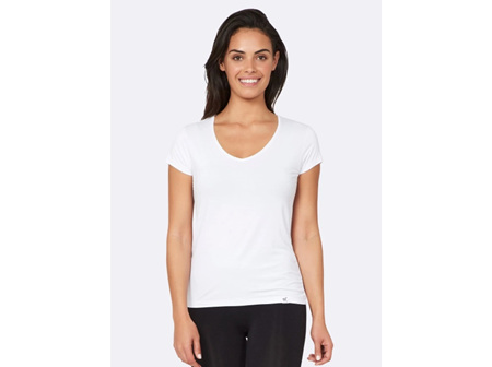 Boody Women's V-neck T-shirt White Large