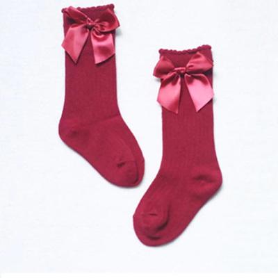 Bow Side Knee High Socks - Berry
