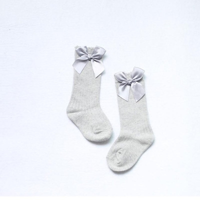 Bow Side Knee High Socks - Grey