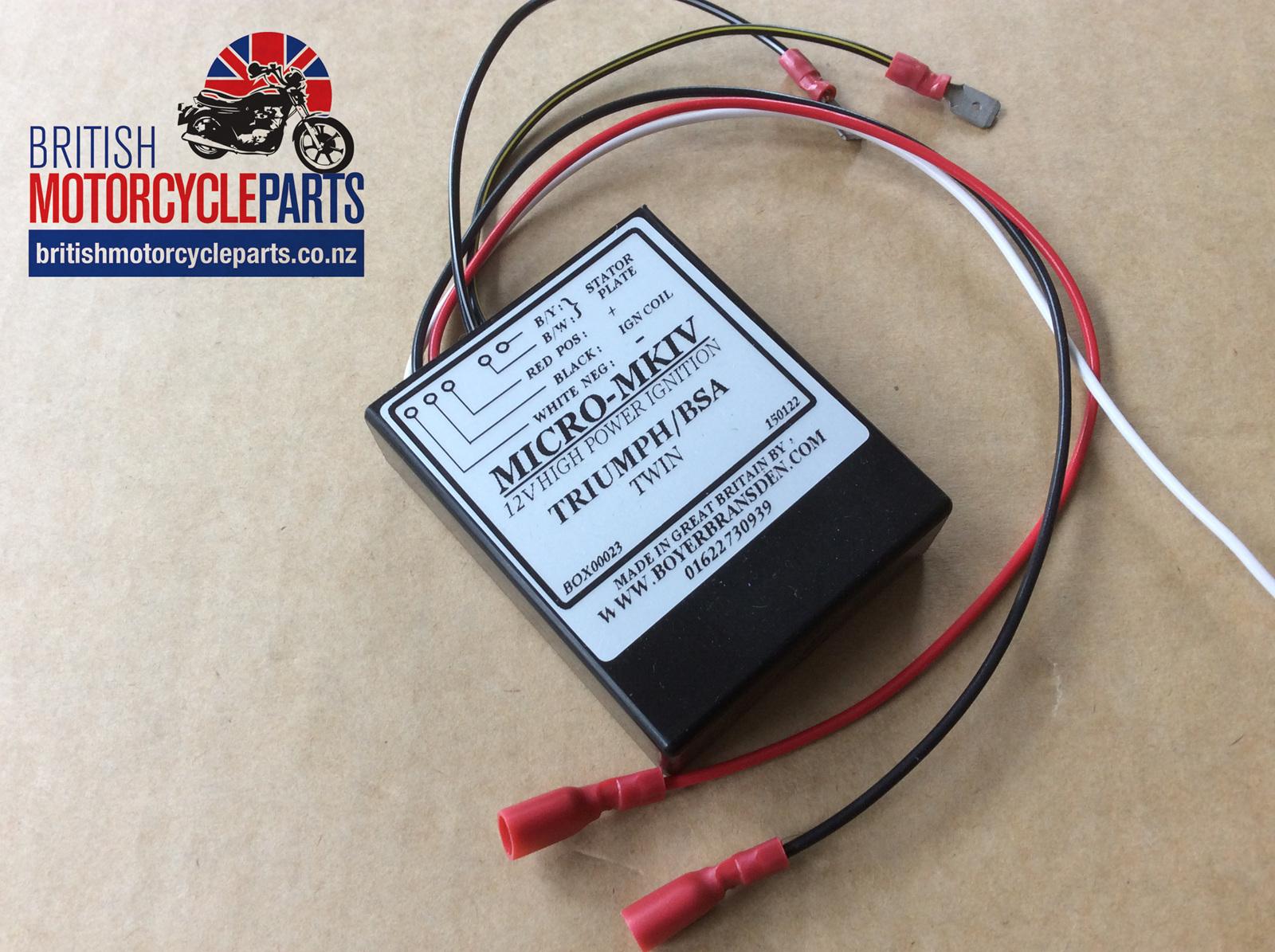 Boyer Bransden Electronics Ltd Ignition Wiring Diagram Micro Mkiv Box 12v Triumph Bsa Twins
