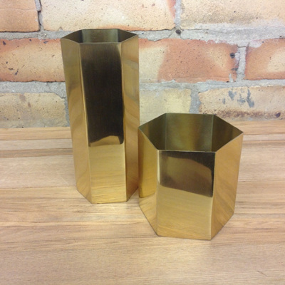 Brass Hexagonal Vase Tall