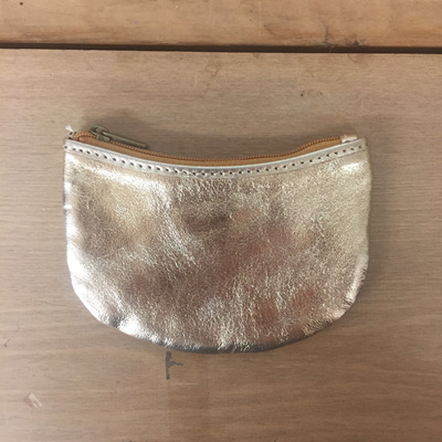 Brazil Coin Purse - Gold Foil Leather