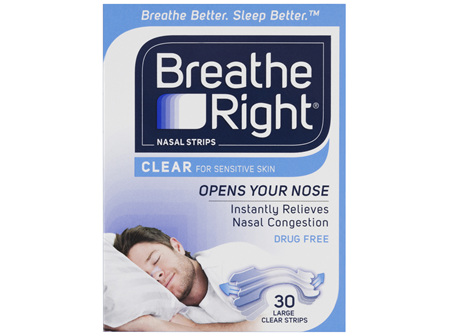 Breathe Right Clear Nasal Congestion Stop Snoring Strips Large Size 30s