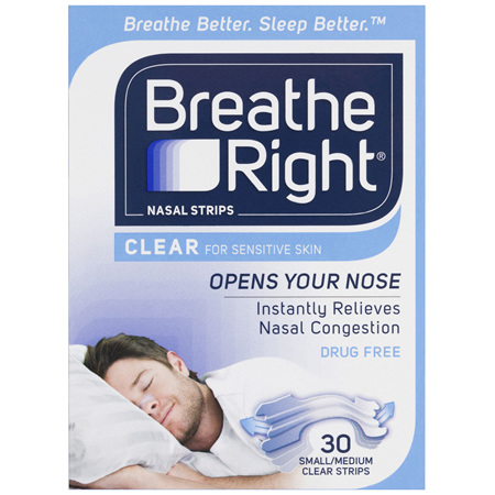 Breathe Right Clear Nasal Congestion Stop Snoring Strips Regular Size 30s