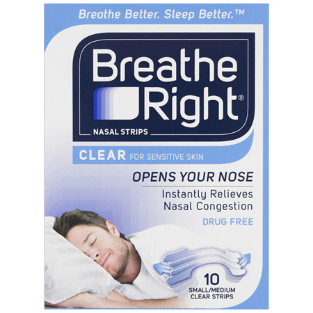 Breathe Right Clear Nasal Congestion Stop Snoring Strips Regular Size 10s