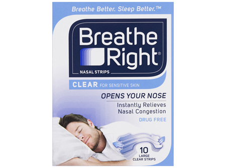 Breathe Right Clear Nasal Congestion Stop Snoring Strips Large Size 10s