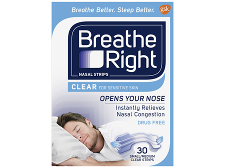 Breathe Right Nasal Strips Clear for Sensitive Skin Small/Medium 30 Pack