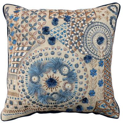 Broderie Cushion 4 - Blue/Multi