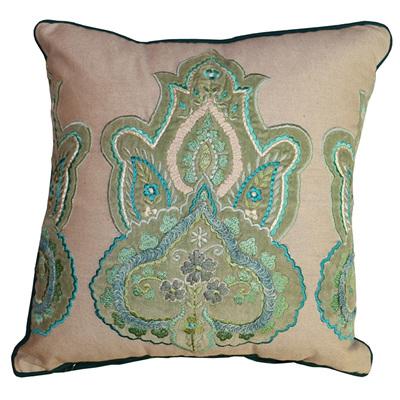 Broderie Cushion 9 - Green/Multi
