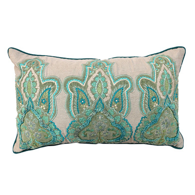 Broderie Rectangle Cushion 8 - Blue/Multi