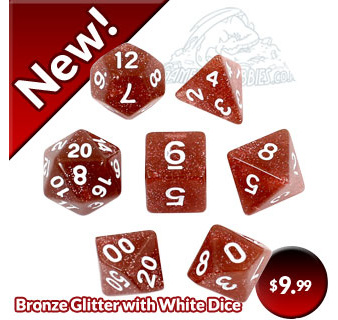 Bronze Glitter Polyhedral Dice with White numbers Games and Hobbies New Zealand