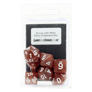 Bronze Glitter with White Polyhedral Dice Games and Hobbies New Zealand NZ