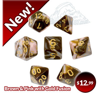 Brown and Pink with Gold Fusion Dice Games and Hobbies New Zealand NZ
