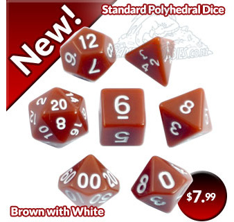 Brown with White Standard Dice